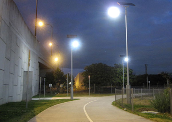 Solar bike way lighting