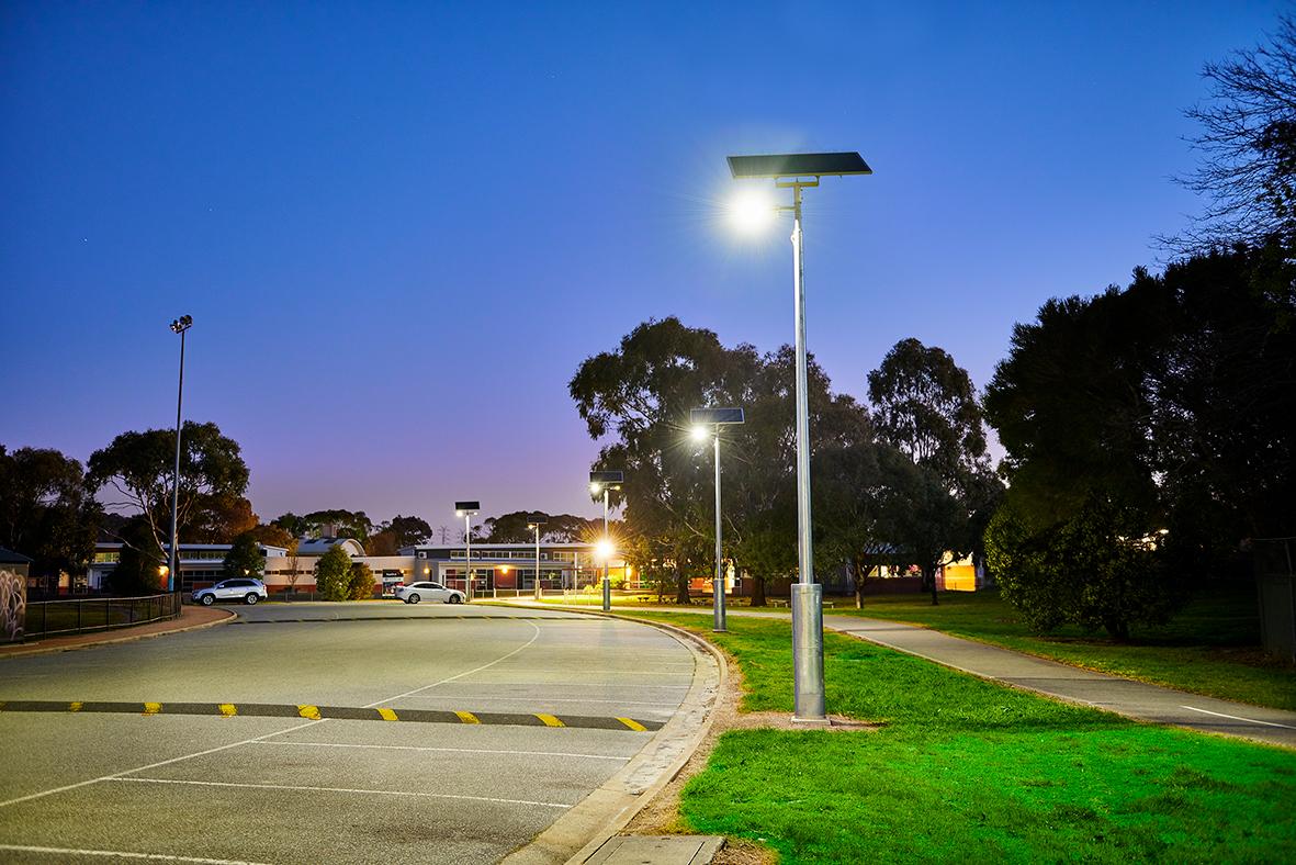 Vertex solar car park lighting by Orca Solar Lighting