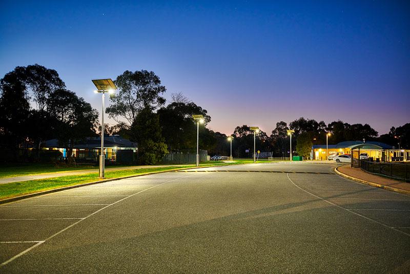 Liberty Reserve car park lit to P11C with Vertex solar car park lights by Orca Solar Lighting