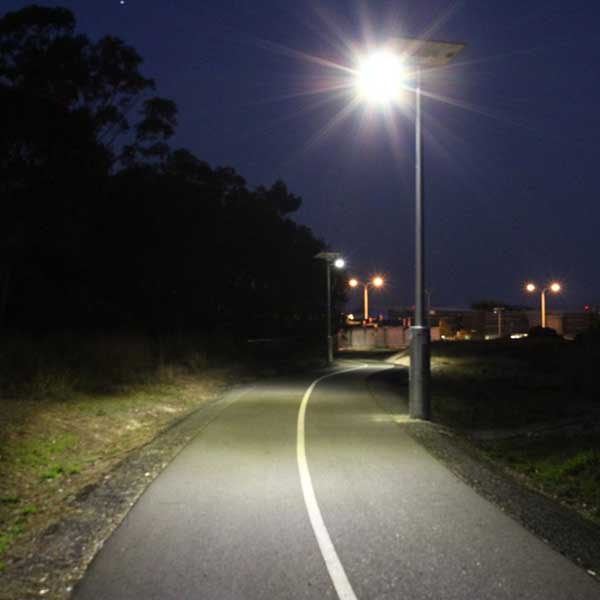 Fraser Coast Council's 7.5km Bikeway from Maryborough to Hervey bay required lighting, some sections are a long way from mains power.